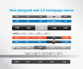 Nine designed homepage menus — ストックベクタ
