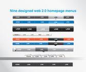 Nueve menús diseñados homepage — Vector de stock