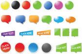 Diseño moderno, pegatinas y burbujas — Vector de stock