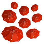 Red umbrellas — Stock Photo