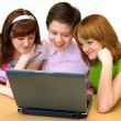 Pupils having fun on laptop — Stock Photo