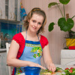 Young woman making vegetarian salad — Stock Photo #1899957