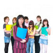 Casual teacher and her students — Stock Photo