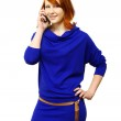 Girl tells by a mobile phone — Stock Photo