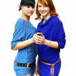 Stock Photo: GIRLS ON THE PHON