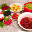 Stock Photo: Jam and fresh fruit