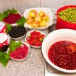 Jam and fresh fruit — Stock Photo #1901450
