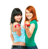 Two girls with apples — Stock Photo