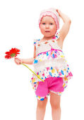 The little girl with a flower — Stock Photo