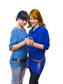 GIRLS ON THE PHON — Stockfoto