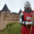 Medieval knight in the castle - Stock Photo