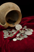 Ancient treasure of coins — Stock Photo