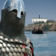 Medieval European knight and sailboat - Stock Photo