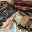 Royalty-Free Stock Photo: African traveller kit money knife map