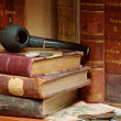 Stock Photo: Old russian books smoking pipe and coin