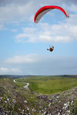 Extreme fly with parachute outdoors — Stock Photo