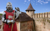 Medieval knight in the castle — Stock Photo