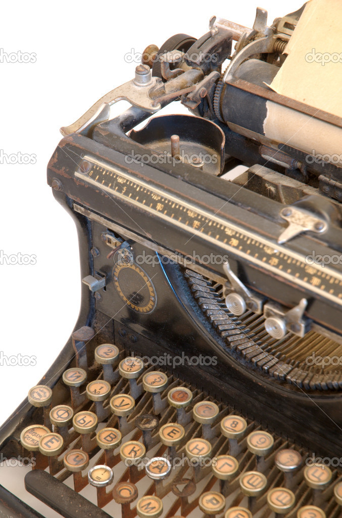 Old typewriter with a sheet of paper isolated on white background — Stock Photo #2541518