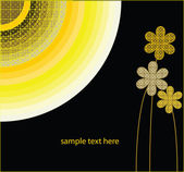 Yellow flowers with black background — Stock Vector