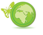 Green globe button with butterfly — Stock Vector