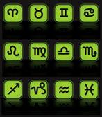 Horoscope green buttons vector — Stock Vector