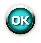 Blue button vector ok — Stock Vector