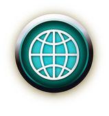 Blue button vector globe — Stock Vector