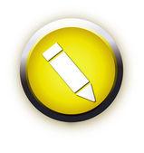 žlutá čtvercovou ikonu psaní tužkou — Stock vektor