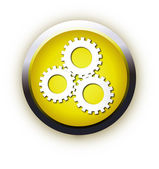 Settings realistic button. Vector illust — Stock Vector