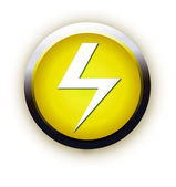 Button with high voltage symbol — Stock Vector