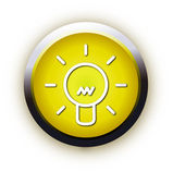 Glossy lightbulb button icon — Stock Vector