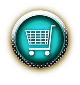 Blue button vector shop — Stock Vector