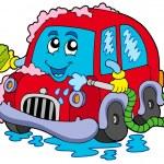 lavage de voiture de dessin animé — Vecteur