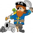 Cartoon pirate with cannon — Stock Vector