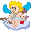 Cupid on cloud - Stock Vector