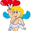 Cupid with balloons — Stockvectorbeeld