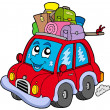 Cute car with baggage - Stock Vector