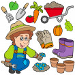 Stock Vector: Gardener with various objects