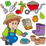 giardiniere con vari oggetti — Vettoriale Stock
