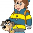 Stock Vector: Firefighter with dog