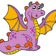 Stock Vector: Purple dragon with big wings