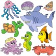Royalty-Free Stock Vector Image: Sea fishes and animals collection 2
