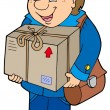 Royalty-Free Stock Векторное изображение: Mailman delivering box