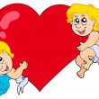 Stockvector : Two Cupids holding heart