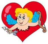 Cupid lurking from heart — Stock Vector