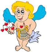 Cupid playing harp — Stock Vector