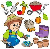 Gardener with various objects — Stock Vector