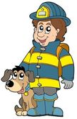 Firefighter with dog — Stock Vector