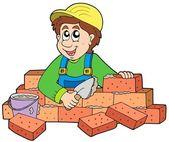 Happy bricklayer — Stock Vector