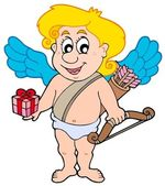 Valentine Cupid with gift — Vector de stock